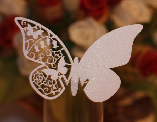 Motylki na kieliszki Ecru